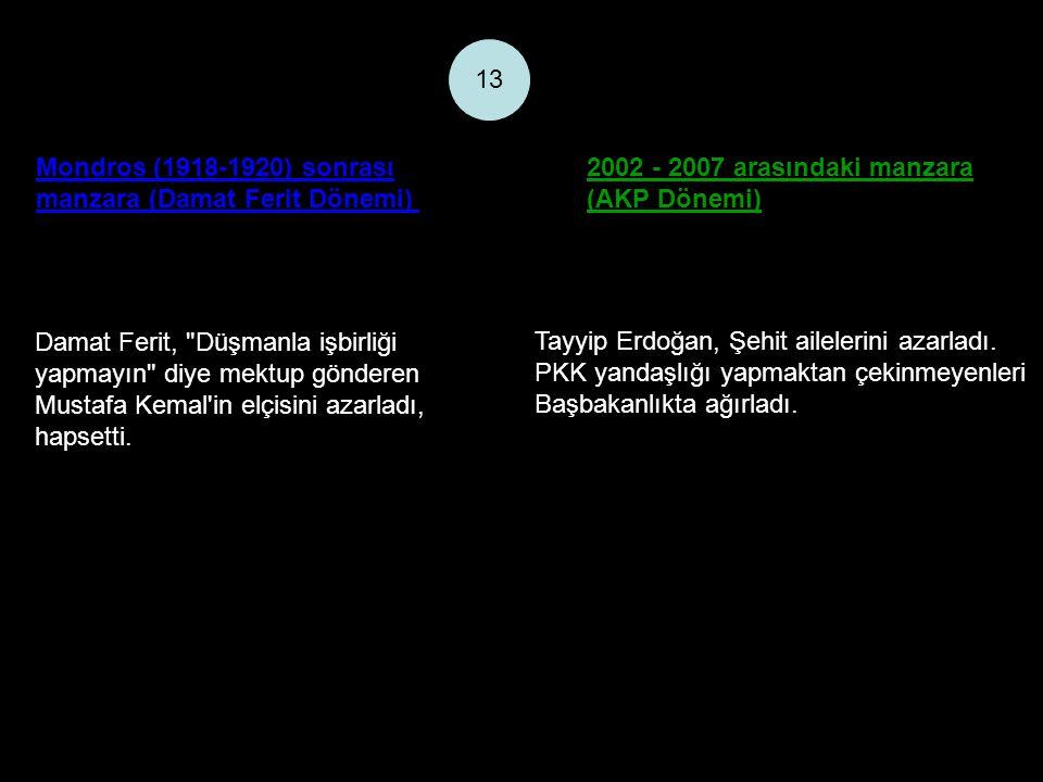 Mondros (1918-1920) sonrası manzara (Damat Ferit Dönemi) 2002 - 2007 arasındaki manzara (AKP Dönemi) 13 Damat Ferit, Düşmanla işbirliği yapmayın diye mektup gönderen Mustafa Kemal in elçisini azarladı, hapsetti.