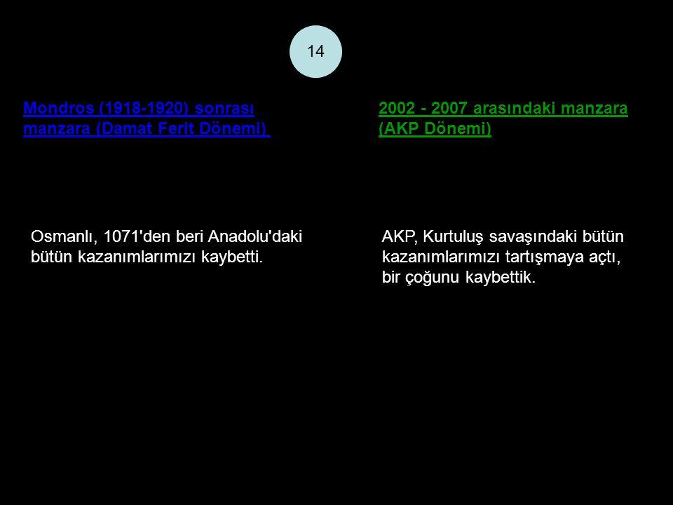 Mondros (1918-1920) sonrası manzara (Damat Ferit Dönemi) 2002 - 2007 arasındaki manzara (AKP Dönemi) 14 Osmanlı, 1071 den beri Anadolu daki bütün kazanımlarımızı kaybetti.