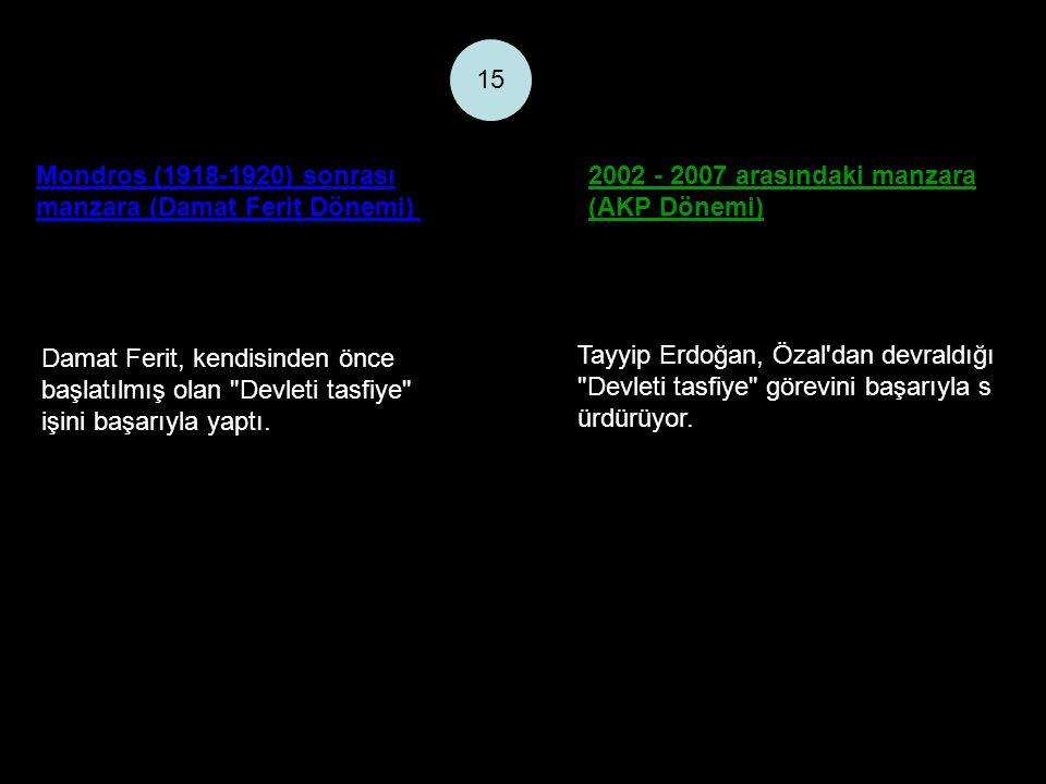 Mondros (1918-1920) sonrası manzara (Damat Ferit Dönemi) 2002 - 2007 arasındaki manzara (AKP Dönemi) 15 Damat Ferit, kendisinden önce başlatılmış olan Devleti tasfiye işini başarıyla yaptı.