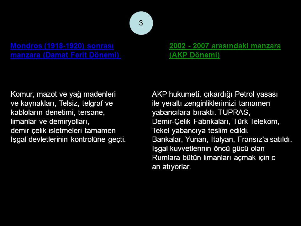 Mondros (1918-1920) sonrası manzara (Damat Ferit Dönemi) 2002 - 2007 arasındaki manzara (AKP Dönemi) 3 Kömür, mazot ve yağ madenleri ve kaynakları, Te