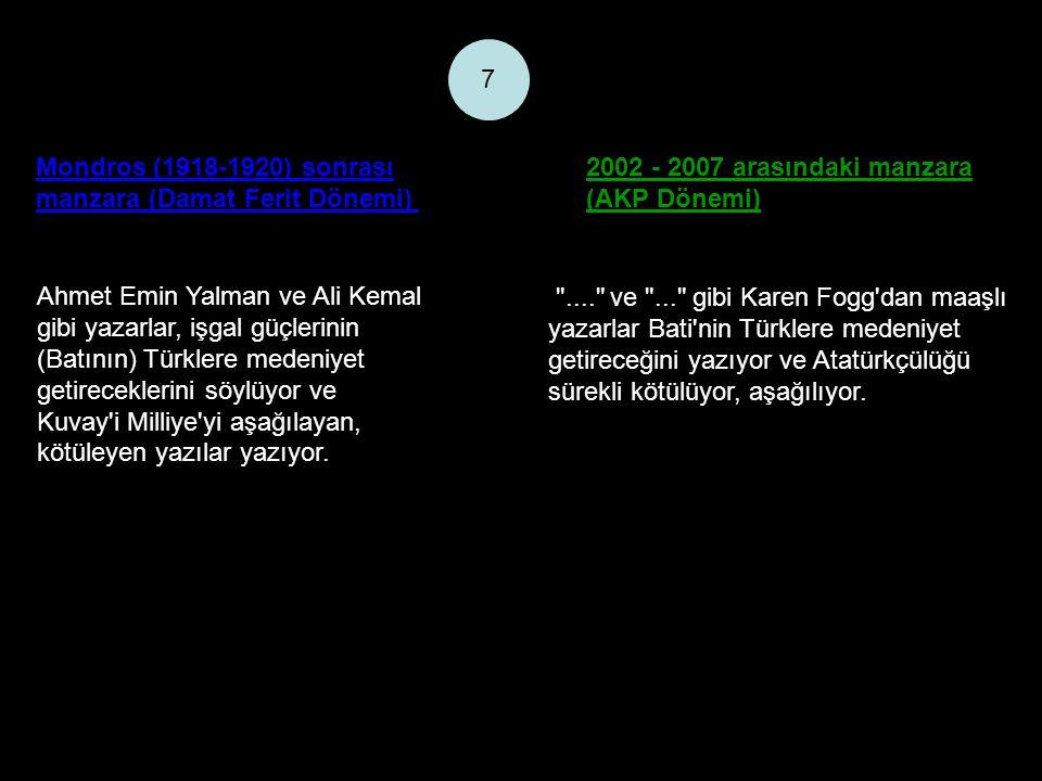 Mondros (1918-1920) sonrası manzara (Damat Ferit Dönemi) 2002 - 2007 arasındaki manzara (AKP Dönemi) 7 Ahmet Emin Yalman ve Ali Kemal gibi yazarlar, işgal güçlerinin (Batının) Türklere medeniyet getireceklerini söylüyor ve Kuvay i Milliye yi aşağılayan, kötüleyen yazılar yazıyor.