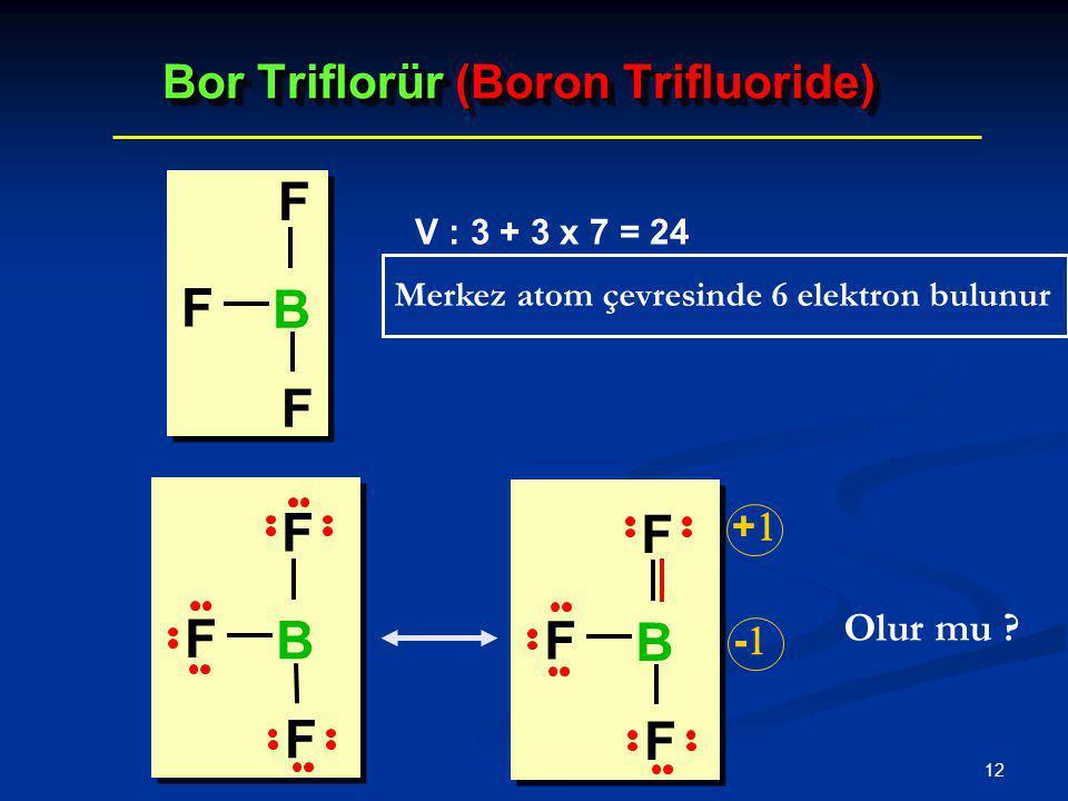 12 Bor Triflorür (Boron Trifluoride) V : 3 + 3 x 7 = 24 Olur mu ? Merkez atom çevresinde 6 elektron bulunur ++ -- F F F B F F F B F F F B