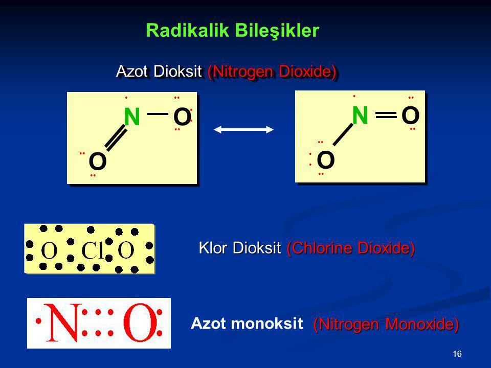 16 O O N O O N Azot Dioksit (Nitrogen Dioxide) Klor Dioksit (Chlorine Dioxide) Radikalik Bileşikler Azot monoksit (Nitrogen Monoxide)