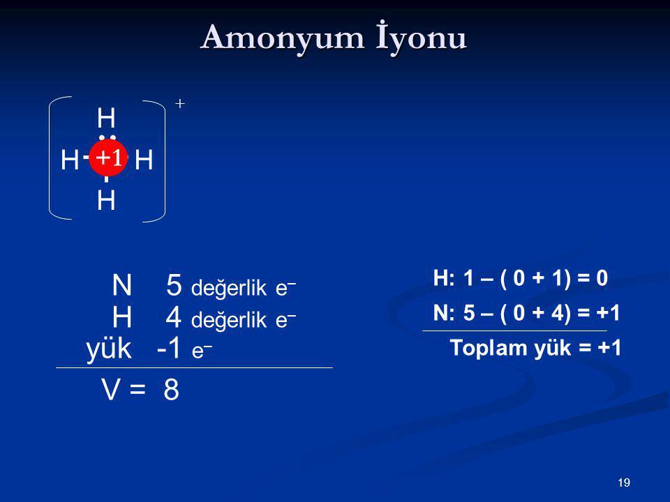 19 Amonyum İyonu NHH H H N 5 değerlik e – V = 8 H 4 değerlik e – yük -1 e – H: 1 – ( 0 + 1) = 0 N: 5 – ( 0 + 4) = +1 Toplam yük = +1 + +1