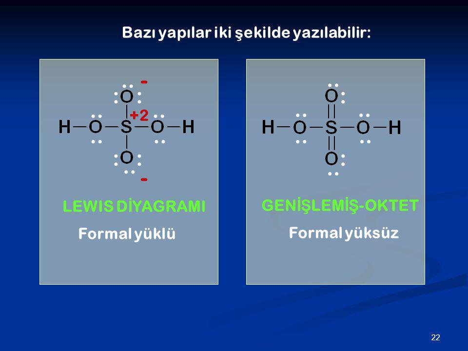 22 Bazı yapılar iki ş ekilde yazılabilir:.. : : : : : : - - +2 LEWIS D İ YAGRAMI GEN İŞ LEM İŞ -OKTET Formal yüklü Formal yüksüz