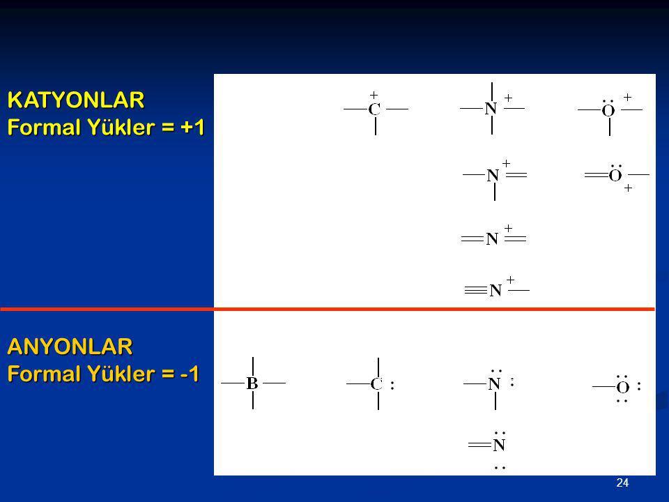 24 KATYONLAR Formal Yükler = +1 ANYONLAR Formal Yükler = -1 ___ _