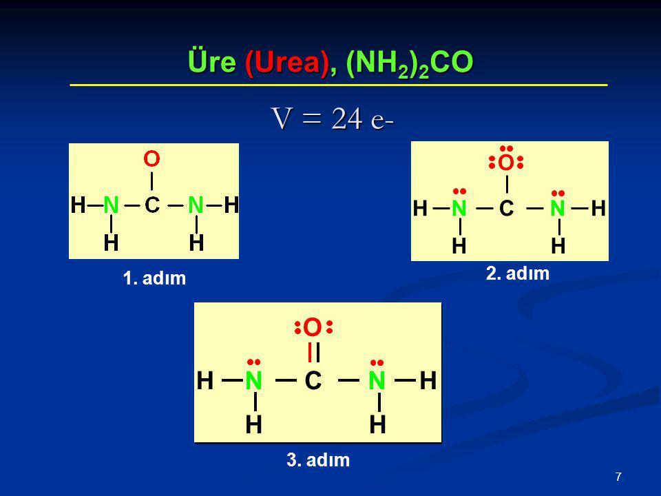 7 Üre (Urea), (NH 2 ) 2 CO V = 24 e- 1. adım 2. adım 3. adım CNNH HH H O CNNH HH H O