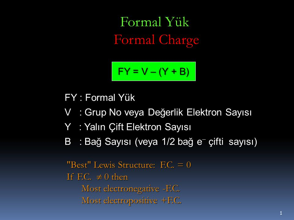  3.Adım: Önce yapı üzerindeki formal yükleri hesaplayın.