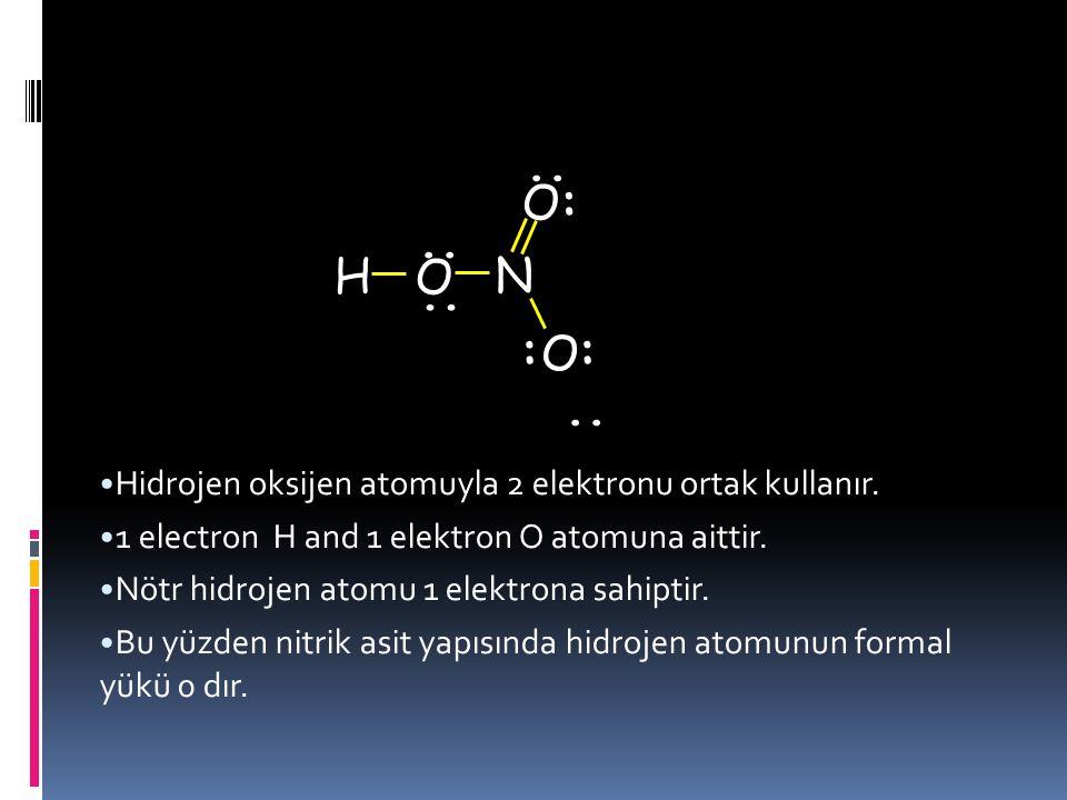 Nitrik asit  Lewis yapısındaki her bir atomun formal yükünü hesaplayacağız... :.. H O O O N : :.... Hidrojen atomunun formal yükü