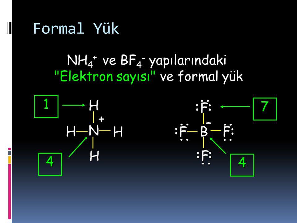 Nitrik asit Eğer yapı üzerinde bulunan formal yükler belirtilmezse Lewis yapısı doğru çizilmiş sayılmaz... :.. H O O O N : :.... Formal yük dağılımı –