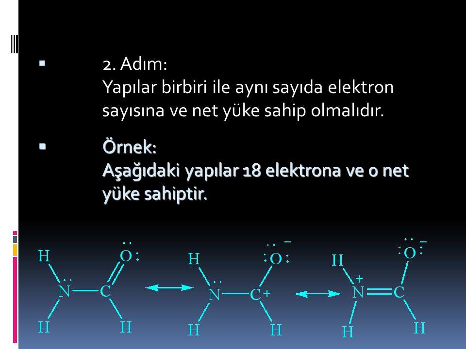 Table 1.6 Rezonans kuralları  1. Adım: Yapıların birbirinin rezonansı olabilmesi için atomların birbirine aynı şekilde bağlanması gerekir.  Örnek: A