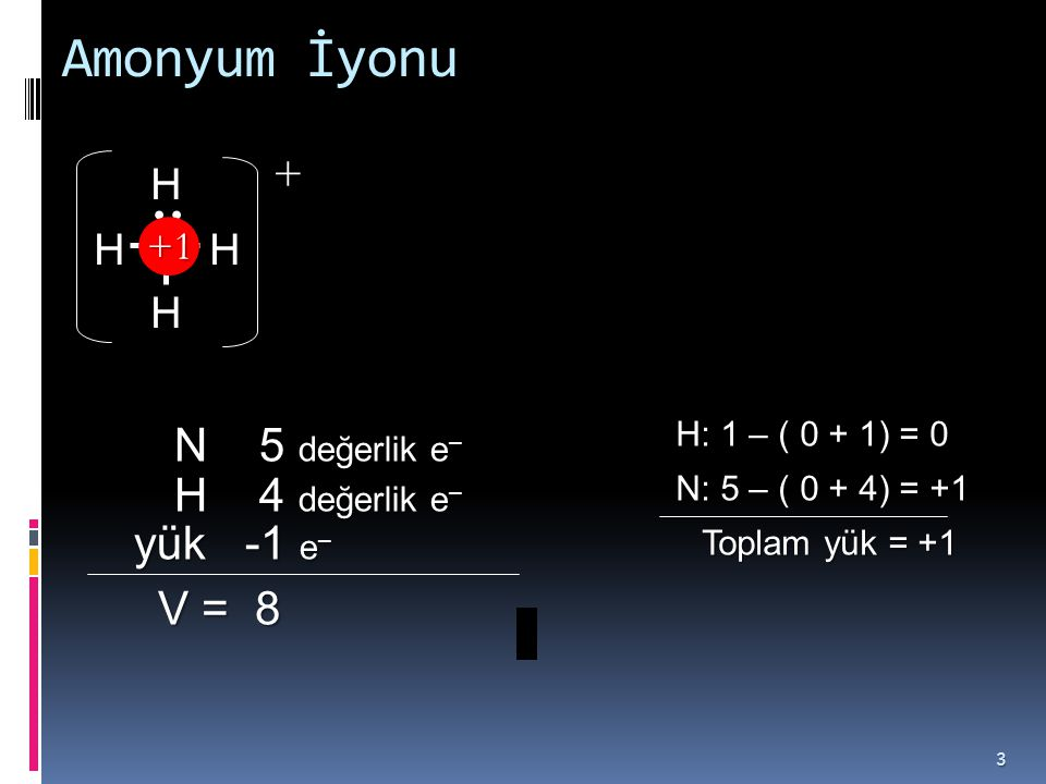 Amonyum İyonu 3 NHH H H N 5 değerlik e – V = 8 V = 8 H 4 değerlik e – yük -1 e – yük -1 e – H: 1 – ( 0 + 1) = 0 N: 5 – ( 0 + 4) = +1 Toplam yük = +1 Toplam yük = +1 ++1+1