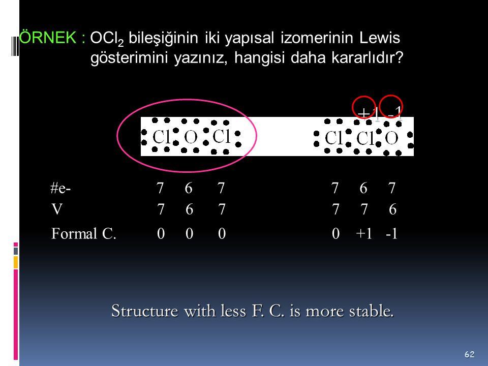 Yapısal İzomerler Cl 2 O bileşiğinin yapısal izomeleri 61 Bu bileşiklerden hangisi daha kararlıdır? Kapalı formülleri aynı, açık formülleri farklı ola