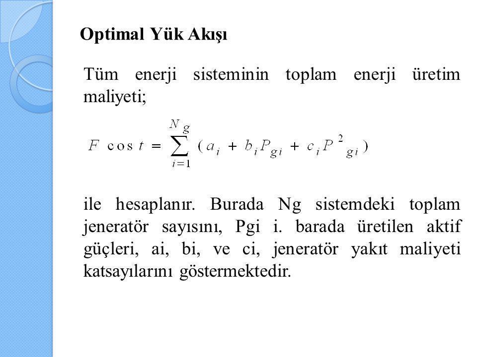 Optimal Yük Akışı Amaç fonksiyonunun değeri yük akışı ve sınırlama eşitlikleri altında; ile hesaplanır.