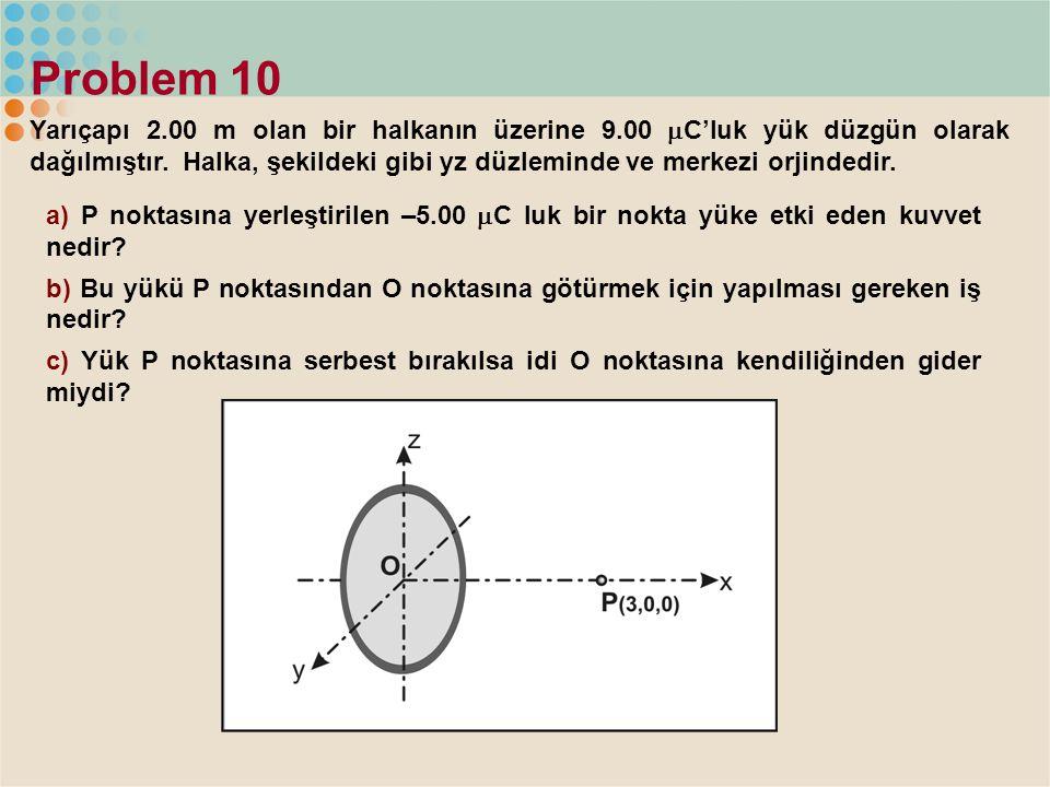 Problem 10 Yarıçapı 2.00 m olan bir halkanın üzerine 9.00  C'luk yük düzgün olarak dağılmıştır. Halka, şekildeki gibi yz düzleminde ve merkezi orjind