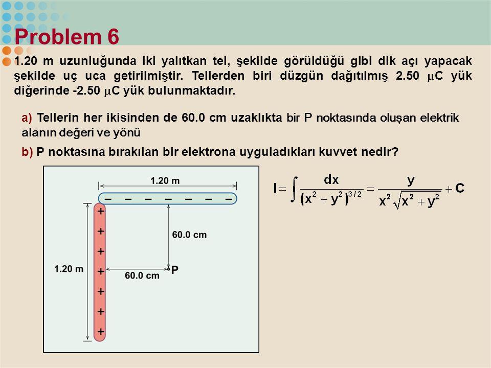 Problem 6 1.20 m uzunluğunda iki yalıtkan tel, şekilde görüldüğü gibi dik açı yapacak şekilde uç uca getirilmiştir. Tellerden biri düzgün dağıtılmış 2
