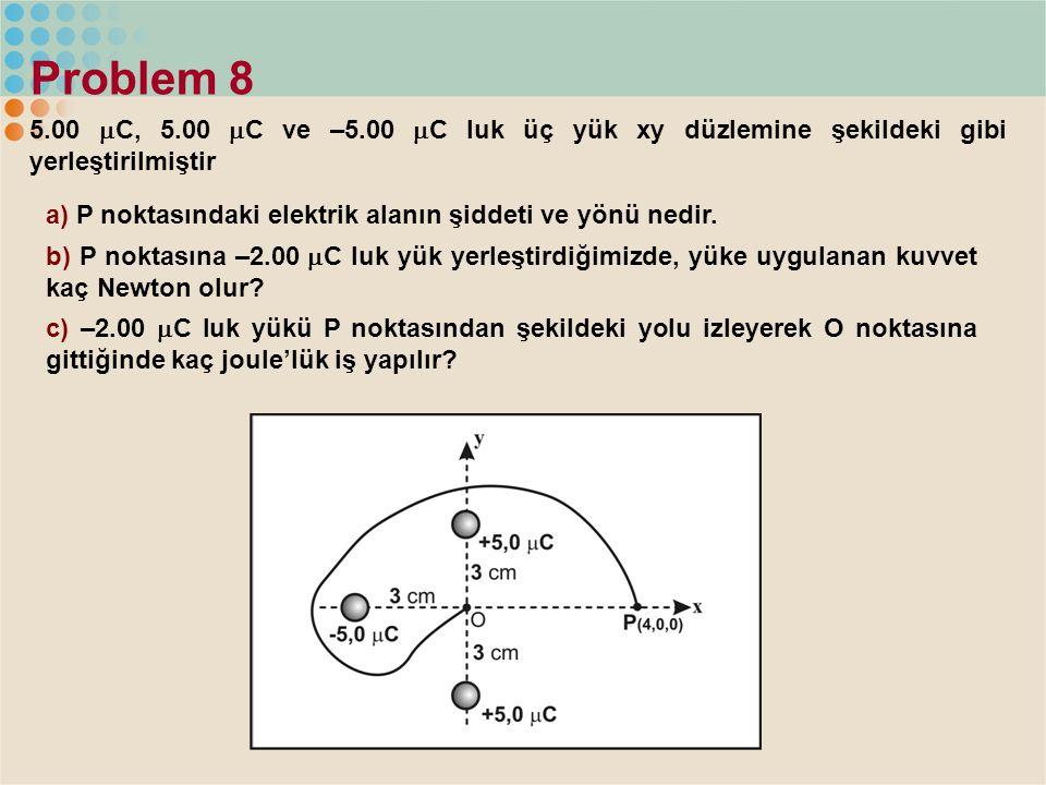 Problem 8 5.00  C, 5.00  C ve –5.00  C luk üç yük xy düzlemine şekildeki gibi yerleştirilmiştir a) P noktasındaki elektrik alanın şiddeti ve yönü n