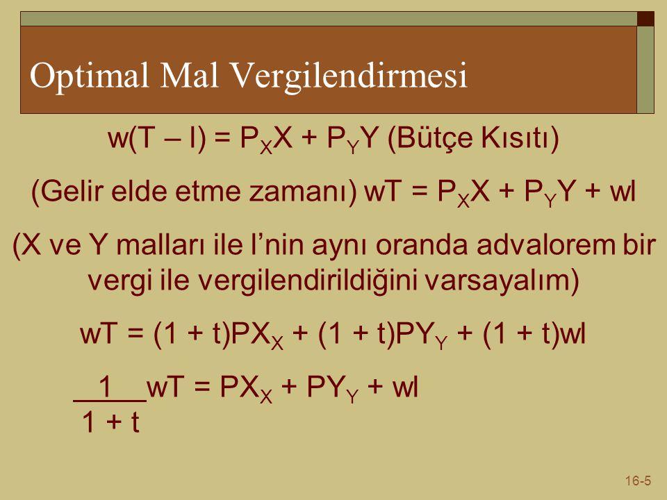 16-5 Optimal Mal Vergilendirmesi w(T – l) = P X X + P Y Y (Bütçe Kısıtı) (Gelir elde etme zamanı) wT = P X X + P Y Y + wl (X ve Y malları ile l'nin ay