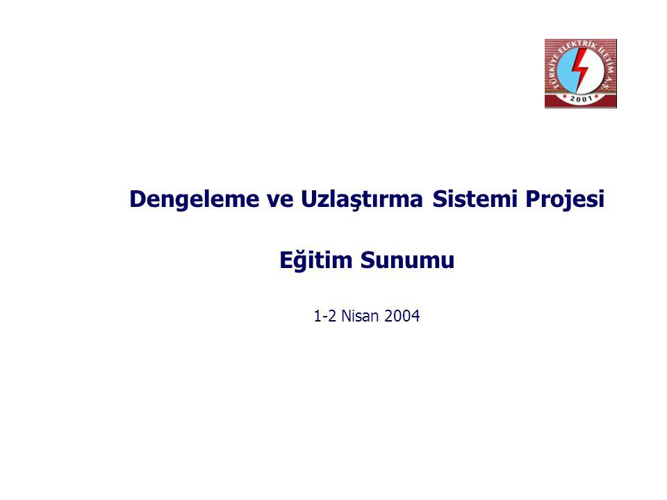 Dengeleme ve Uzlaştırma Sistemi Projesi Eğitim Sunumu 1-2 Nisan 2004