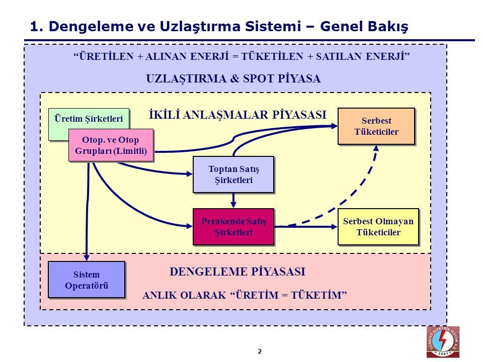2 1. Dengeleme ve Uzlaştırma Sistemi – Genel Bakış Üretim Şirketleri Serbest Tüketiciler Toptan Satış Şirketleri Perakende Satış Şirketleri Serbest Ol