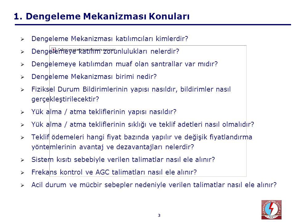 3 1. Dengeleme Mekanizması Konuları  Dengeleme Mekanizması katılımcıları kimlerdir?  Dengelemeye katılım zorunlulukları nelerdir?  Dengelemeye katı