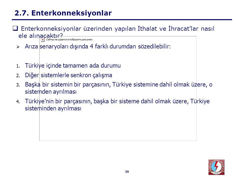 39  Arıza senaryoları dışında 4 farklı durumdan sözedilebilir: 1. Türkiye içinde tamamen ada durumu 2. Diğer sistemlerle senkron çalışma 3. Başka bir