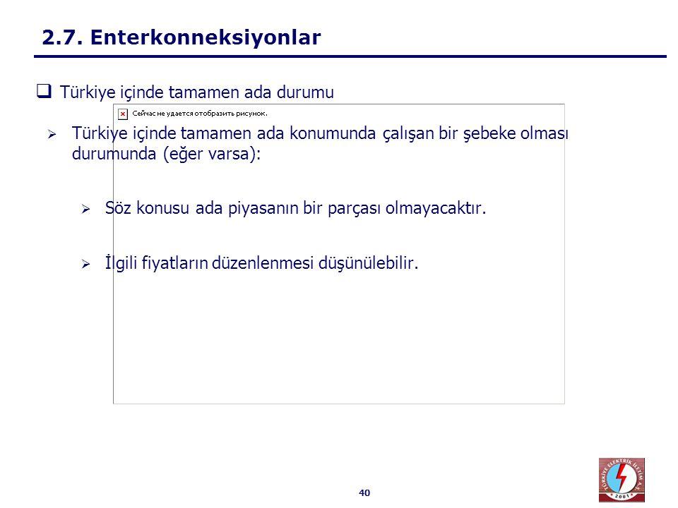 40  Türkiye içinde tamamen ada konumunda çalışan bir şebeke olması durumunda (eğer varsa):  Söz konusu ada piyasanın bir parçası olmayacaktır.  İlg