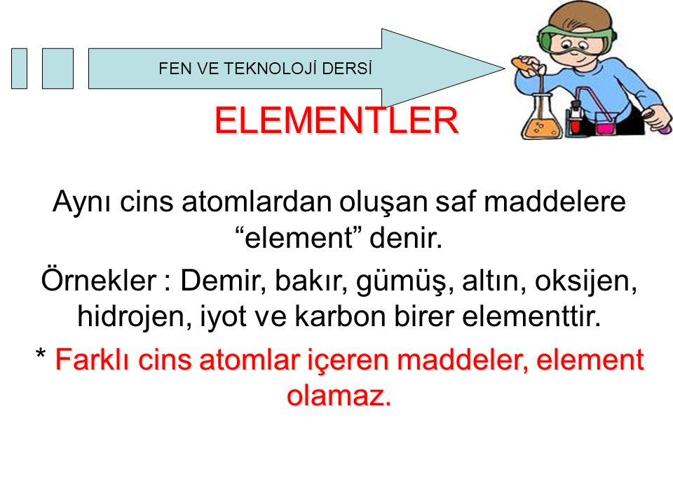 """FEN VE TEKNOLOJİ DERSİ ELEMENTLER Aynı cins atomlardan oluşan saf maddelere """"element"""" denir. Örnekler : Demir, bakır, gümüş, altın, oksijen, hidrojen,"""
