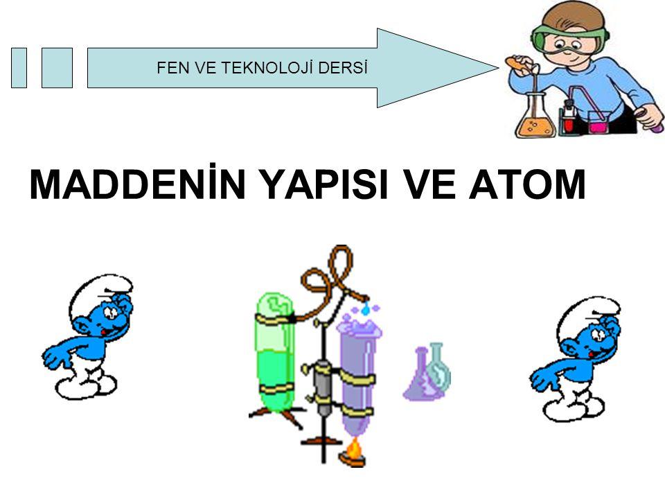 FEN VE TEKNOLOJİ DERSİ Madde, atom adı verilen taneciklerden oluşur.Atom maddenin yapı taşıdır.