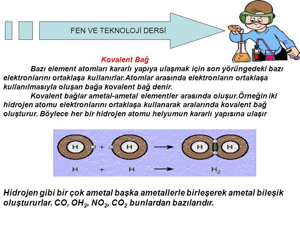 FEN VE TEKNOLOJİ DERSİ Kovalent Bağ Bazı element atomları kararlı yapıya ulaşmak için son yörüngedeki bazı elektronlarını ortaklaşa kullanırlar.Atomlar arasında elektronların ortaklaşa kullanılmasıyla oluşan bağa kovalent bağ denir.