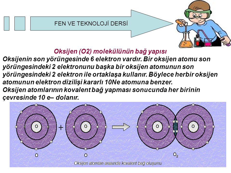 FEN VE TEKNOLOJİ DERSİ Oksijen (O2) molekülünün bağ yapısı Oksijenin son yörüngesinde 6 elektron vardır. Bir oksijen atomu son yörüngesindeki 2 elektr