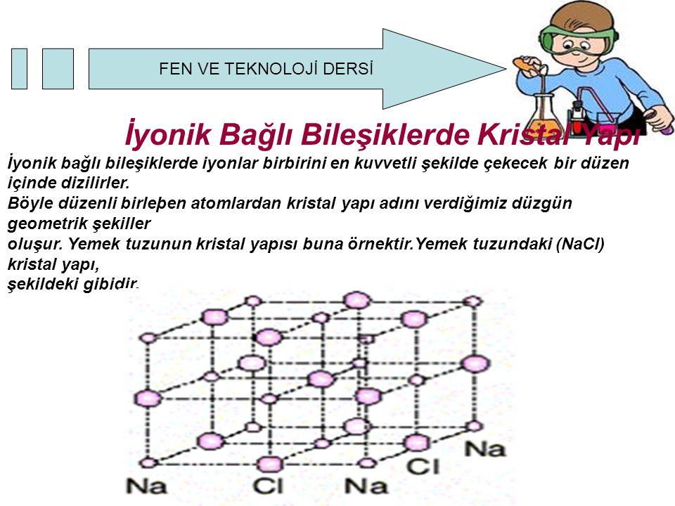 FEN VE TEKNOLOJİ DERSİ İyonik Bağlı Bileşiklerde Kristal Yapı İyonik bağlı bileşiklerde iyonlar birbirini en kuvvetli şekilde çekecek bir düzen içinde dizilirler.