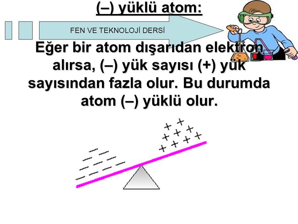 FEN VE TEKNOLOJİ DERSİ (–) yüklü atom: Eğer bir atom dışarıdan elektron alırsa, (–) yük sayısı (+) yük sayısından fazla olur. Bu durumda atom (–) yükl