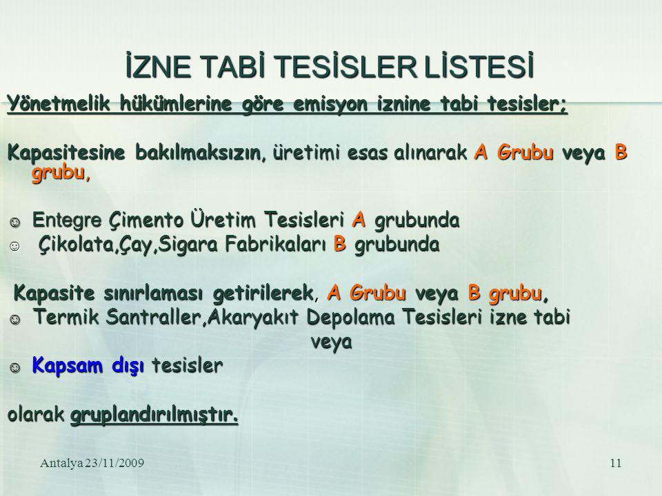 Antalya 23/11/200911 İZNE TABİ TESİSLER LİSTESİ Yönetmelik hükümlerine göre emisyon iznine tabi tesisler; Kapasitesine bakılmaksızın, üretimi esas alı