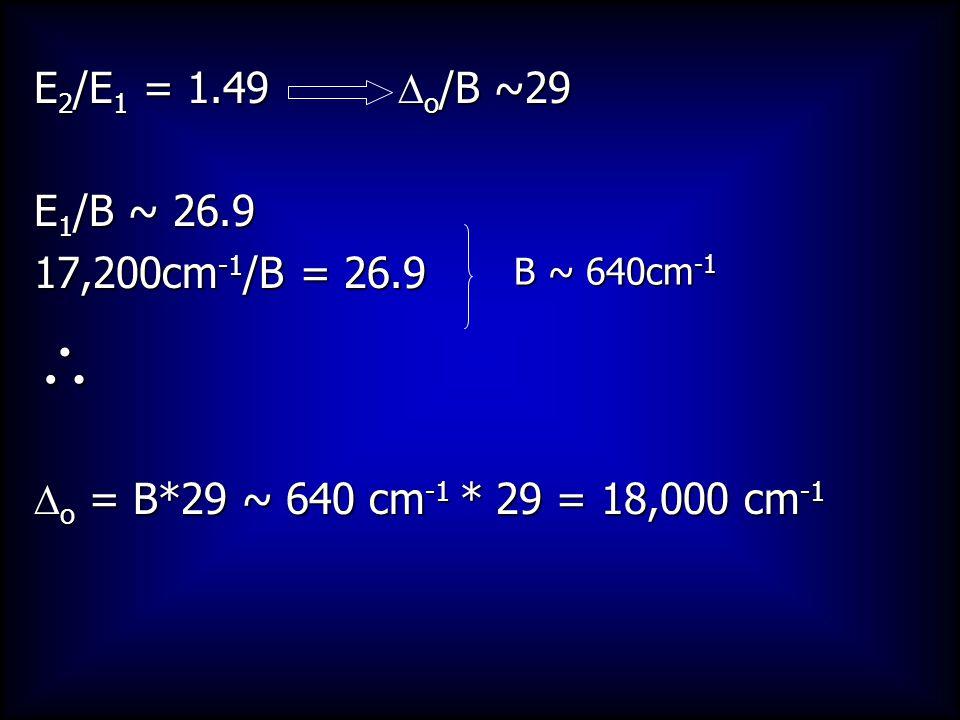 E 2 /E 1 = 1.49  o /B ~29 E 1 /B ~ 26.9 17,200cm -1 /B = 26.9   o = B*29 ~ 640 cm -1 * 29 = 18,000 cm -1 B ~ 640cm -1