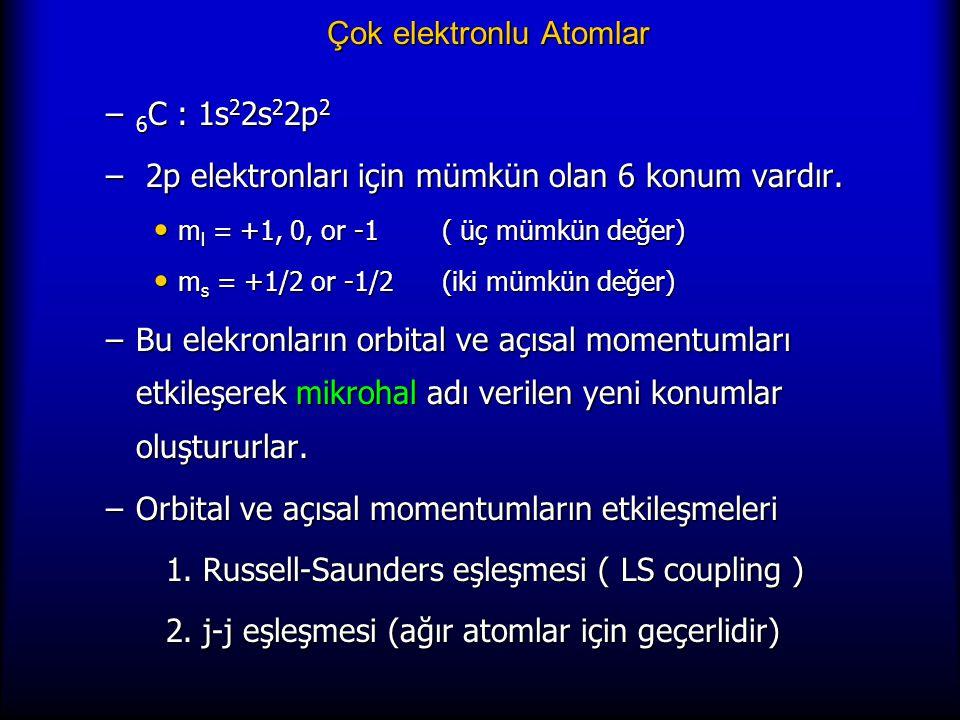 Çok elektronlu Atomlar – 6 C : 1s 2 2s 2 2p 2 – 2p elektronları için mümkün olan 6 konum vardır. m l = +1, 0, or -1( üç mümkün değer) m l = +1, 0, or