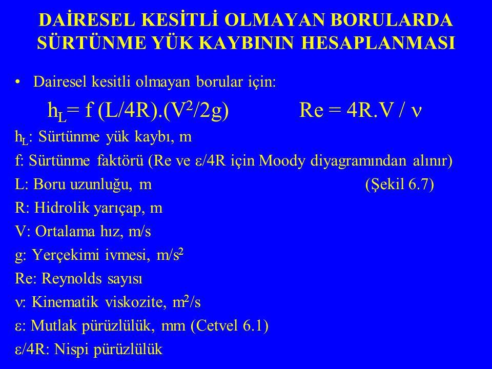 Dairesel kesitli olmayan borular için: h L = f (L/4R).(V 2 /2g) Re = 4R.V / h L : Sürtünme yük kaybı, m f: Sürtünme faktörü (Re ve  /4R için Moody di