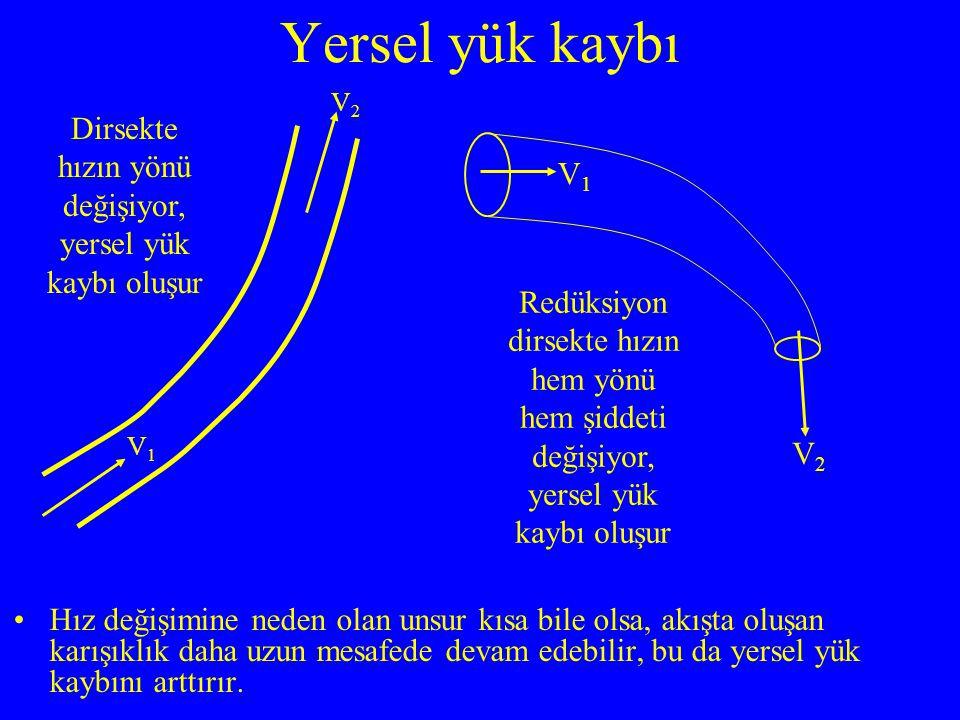 Hız değişimine neden olan unsur kısa bile olsa, akışta oluşan karışıklık daha uzun mesafede devam edebilir, bu da yersel yük kaybını arttırır. Yersel