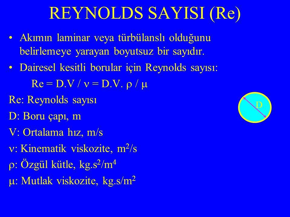 Akımın laminar veya türbülanslı olduğunu belirlemeye yarayan boyutsuz bir sayıdır. Dairesel kesitli borular için Reynolds sayısı: Re = D.V / = D.V. 