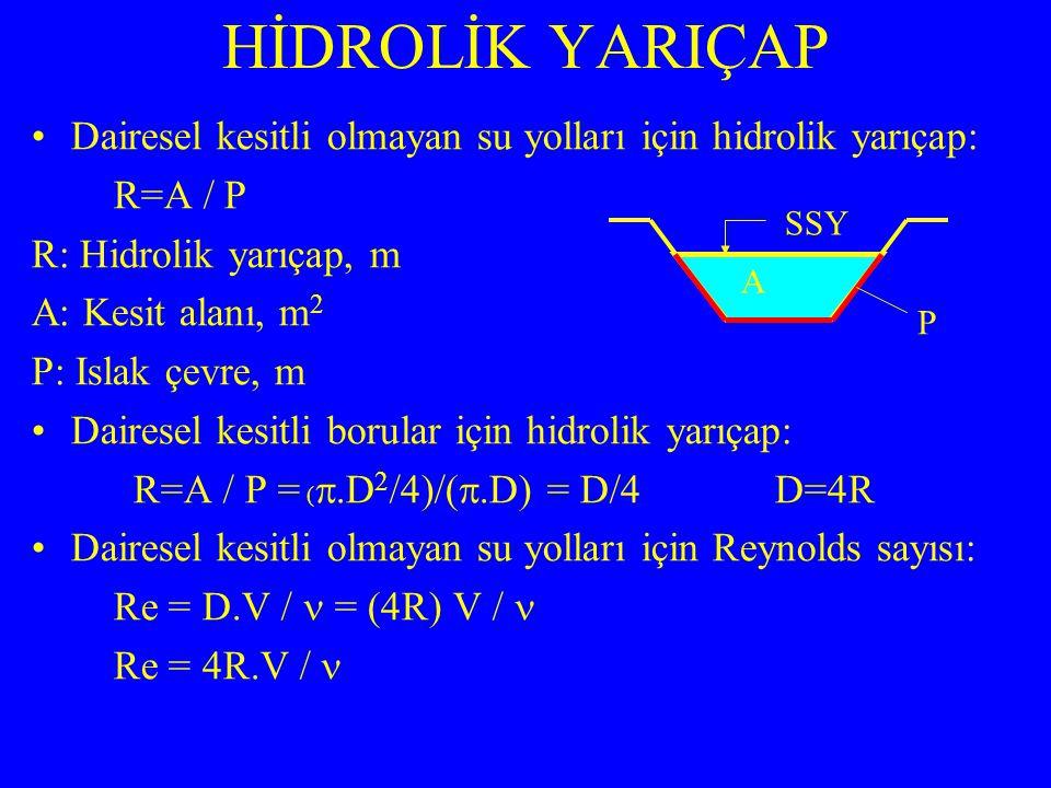 Dairesel kesitli olmayan su yolları için hidrolik yarıçap: R=A / P R: Hidrolik yarıçap, m A: Kesit alanı, m 2 P: Islak çevre, m Dairesel kesitli borul