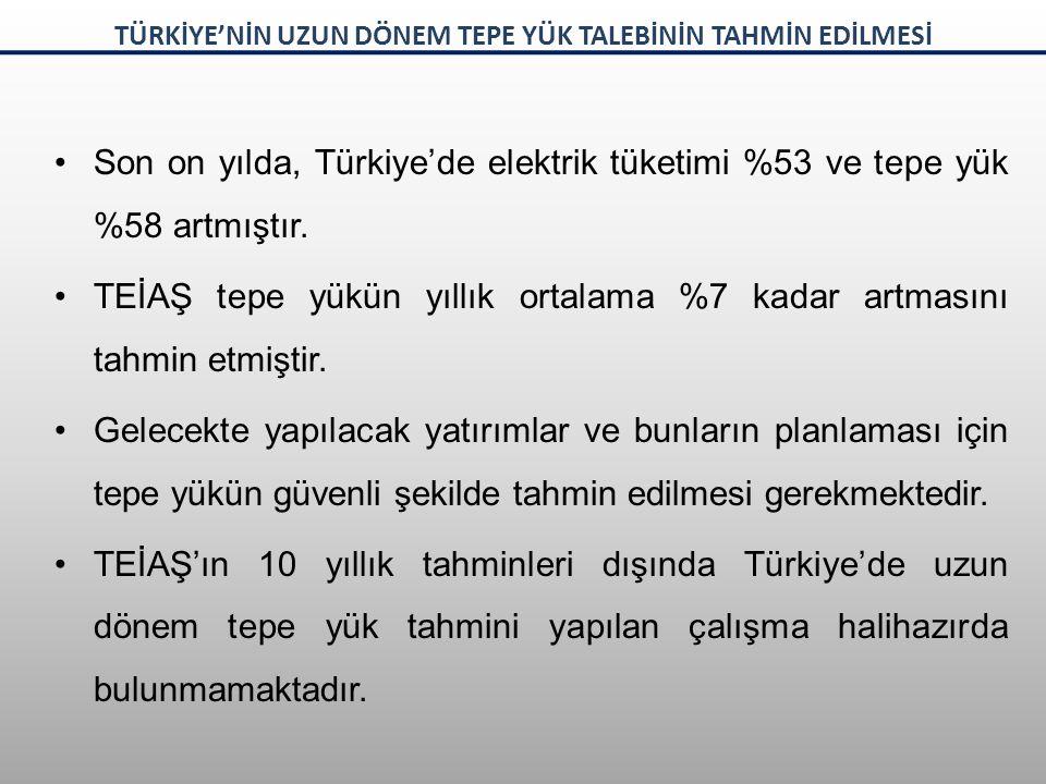 Son on yılda, Türkiye'de elektrik tüketimi %53 ve tepe yük %58 artmıştır. TEİAŞ tepe yükün yıllık ortalama %7 kadar artmasını tahmin etmiştir. Gelecek
