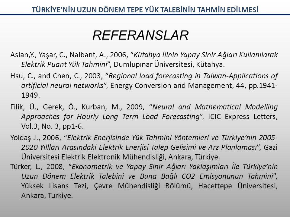 REFERANSLAR Aslan,Y., Yaşar, C., Nalbant, A., 2006, Kütahya İlinin Yapay Sinir Ağları Kullanılarak Elektrik Puant Yük Tahmini , Dumlupınar Üniversitesi, Kütahya.