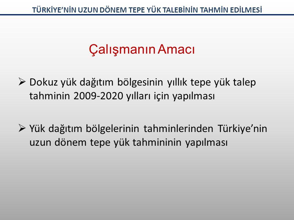 Çalışmanın Amacı  Dokuz yük dağıtım bölgesinin yıllık tepe yük talep tahminin 2009-2020 yılları için yapılması  Yük dağıtım bölgelerinin tahminlerinden Türkiye'nin uzun dönem tepe yük tahmininin yapılması TÜRKİYE'NİN UZUN DÖNEM TEPE YÜK TALEBİNİN TAHMİN EDİLMESİ