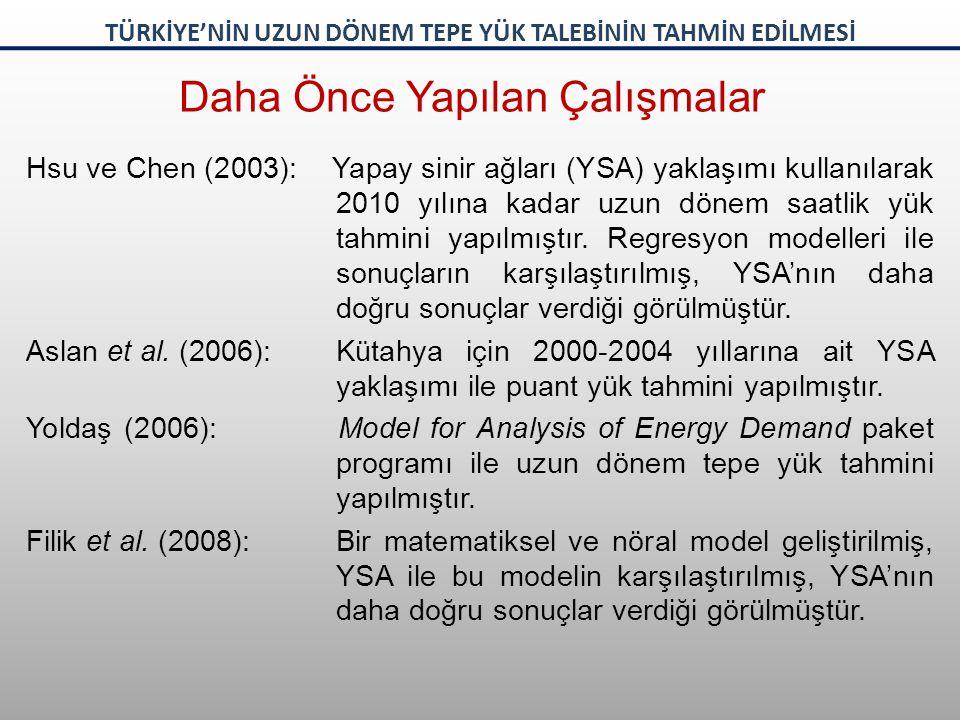 Hsu ve Chen (2003): Yapay sinir ağları (YSA) yaklaşımı kullanılarak 2010 yılına kadar uzun dönem saatlik yük tahmini yapılmıştır. Regresyon modelleri