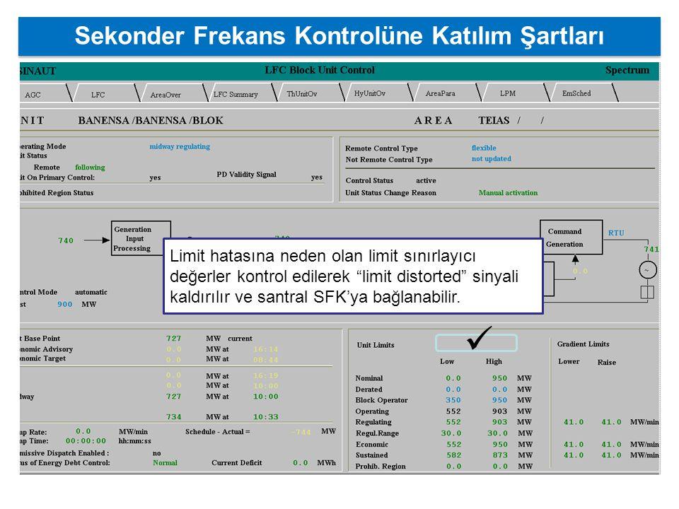 Sekonder Frekans Kontrolüne Katılım Şartları Limit hatasına neden olan limit sınırlayıcı değerler kontrol edilerek limit distorted sinyali kaldırılır ve santral SFK'ya bağlanabilir.
