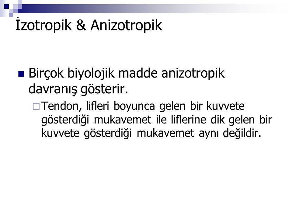 İzotropik & Anizotropik Birçok biyolojik madde anizotropik davranış gösterir.  Tendon, lifleri boyunca gelen bir kuvvete gösterdiği mukavemet ile lif