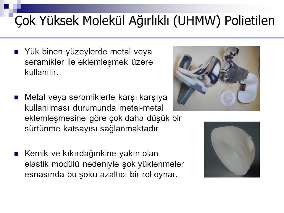Çok Yüksek Molekül Ağırlıklı (UHMW) Polietilen Yük binen yüzeylerde metal veya seramikler ile eklemleşmek üzere kullanılır. Metal veya seramiklerle ka