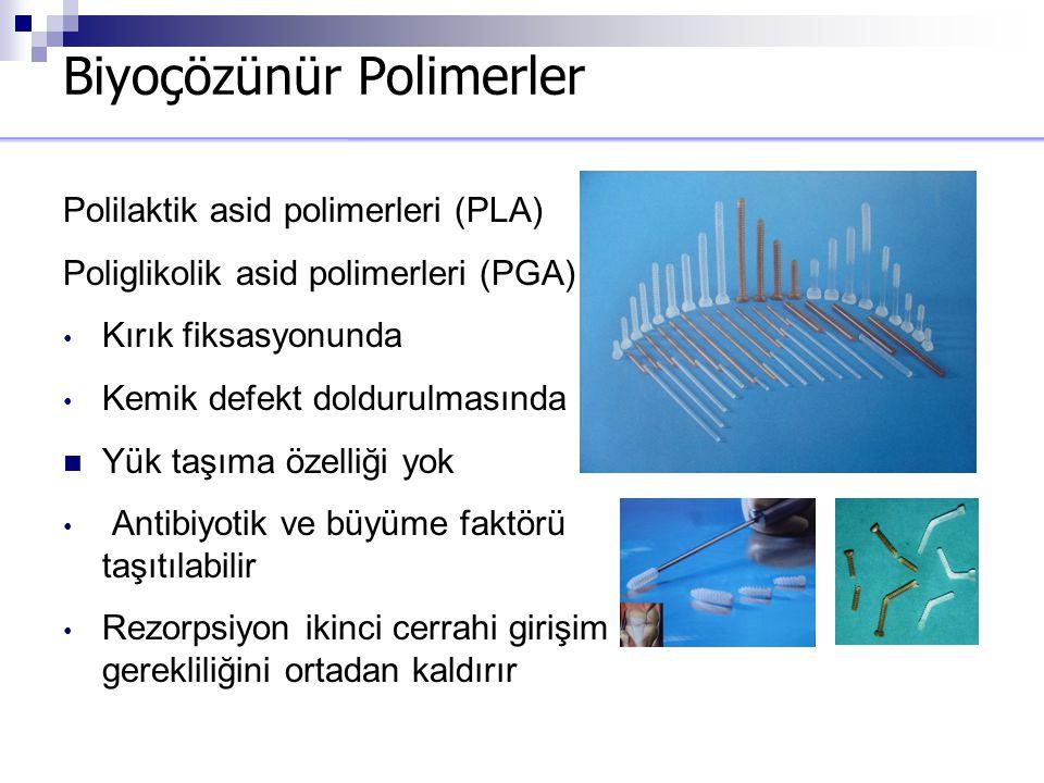 Biyoçözünür Polimerler Polilaktik asid polimerleri (PLA) Poliglikolik asid polimerleri (PGA) Kırık fiksasyonunda Kemik defekt doldurulmasında Yük taşı