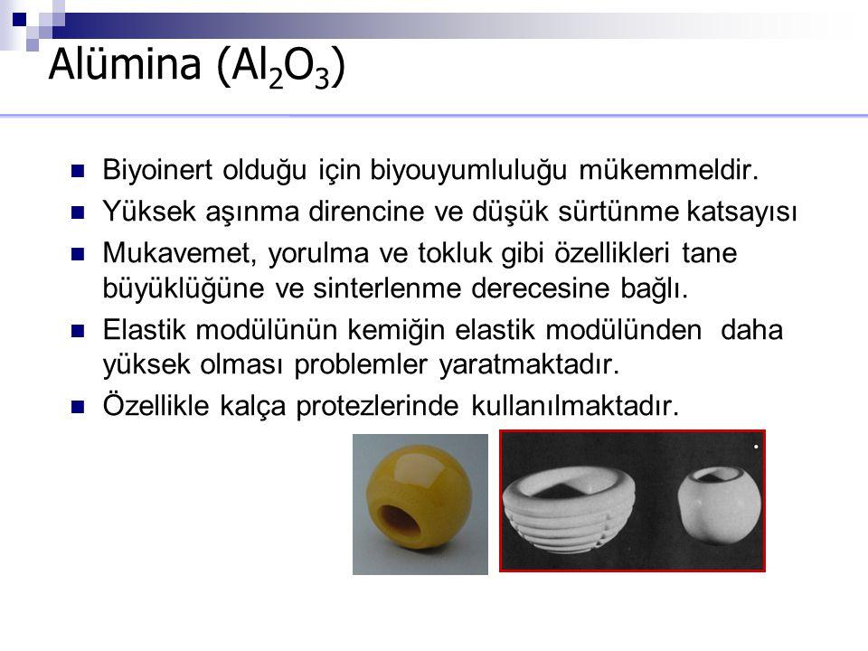 Alümina (Al 2 O 3 ) Biyoinert olduğu için biyouyumluluğu mükemmeldir. Yüksek aşınma direncine ve düşük sürtünme katsayısı Mukavemet, yorulma ve tokluk