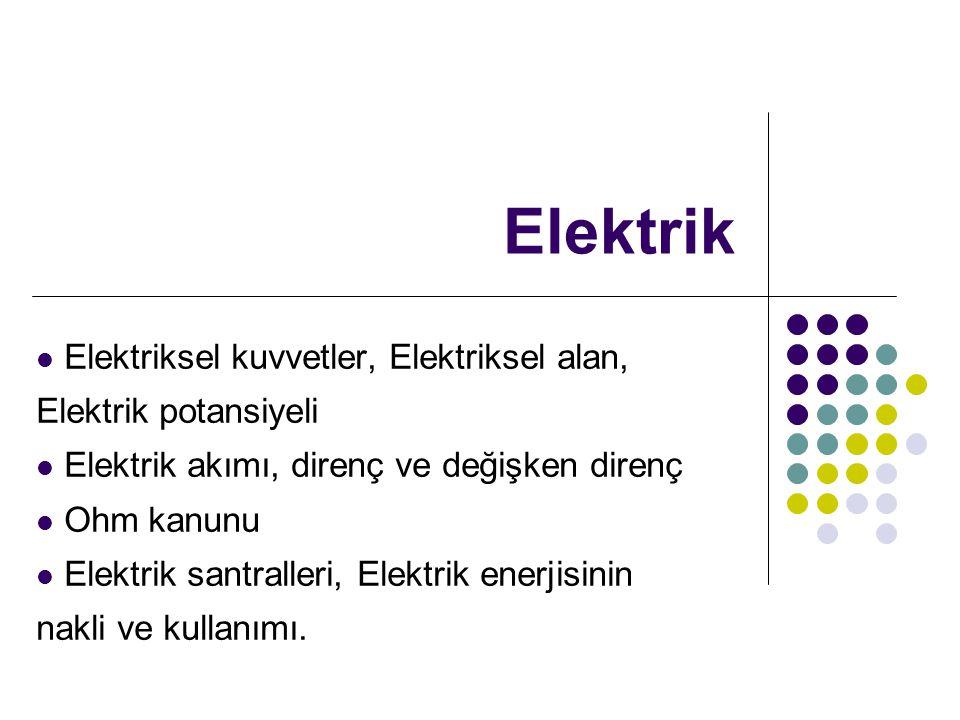 Elektrik Elektriksel kuvvetler, Elektriksel alan, Elektrik potansiyeli Elektrik akımı, direnç ve değişken direnç Ohm kanunu Elektrik santralleri, Elek